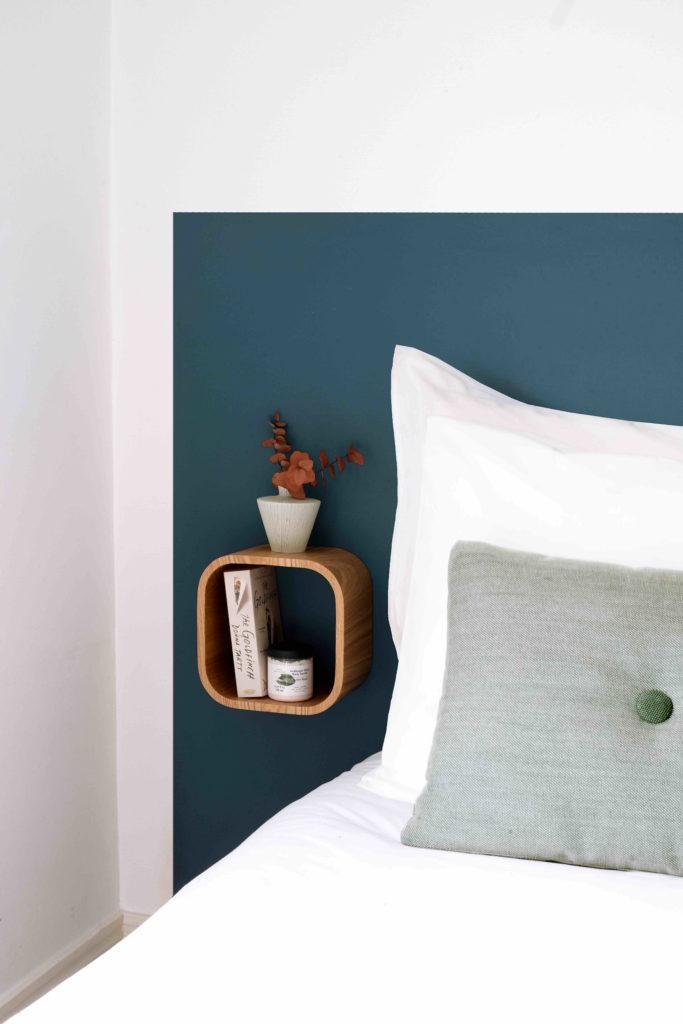 Bedroom interior design idea blue headboard