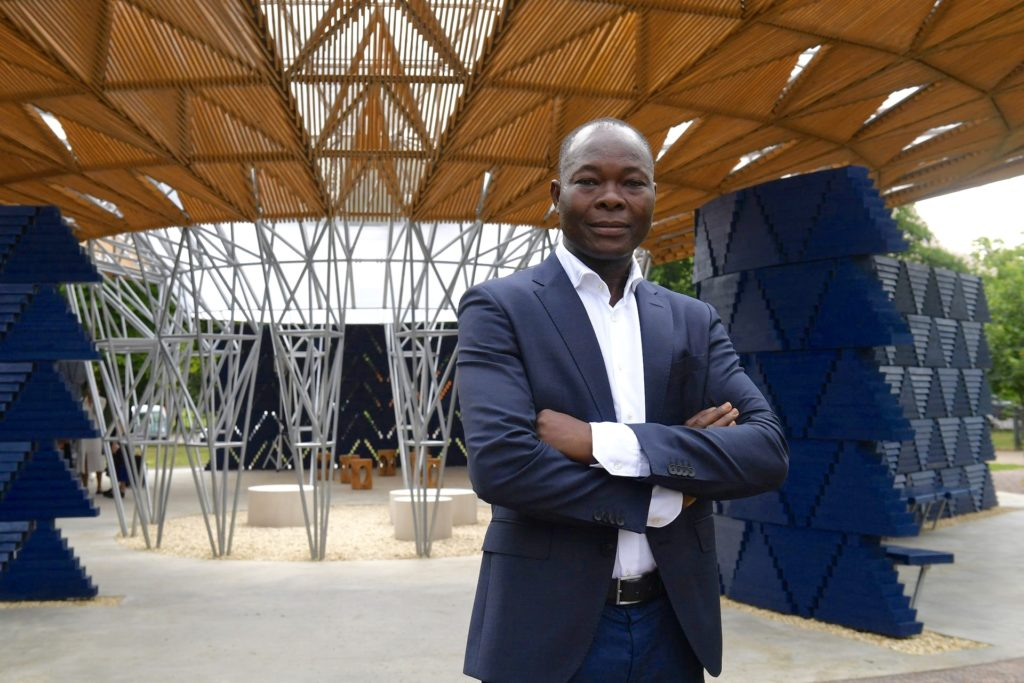 Francis Kéré at the launch of his Serpentine pavilion. Photograph: Victoria Jones/PA