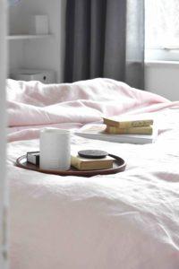 Bedroom pink bed linen