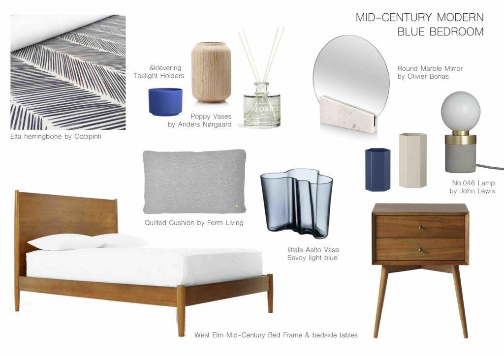 Interior Design Furniture Selection ~ Sweet dream blue bedroom mk design london